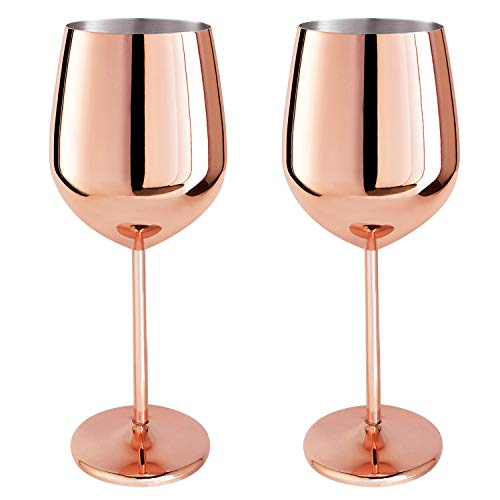 Magicpro 18/10 Stainless Steel Wine Glasses, Set of 2,rose...