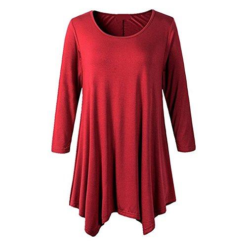 Camisas Manga Estampadas Tamaño Blusas Mini Más Vintage A Larga Hibote Linear Vestido Camisetas Casual Largas Cuello Góticas 3 Camisetas Color Camisetas Mujeres Redondo Vestido zwPW0