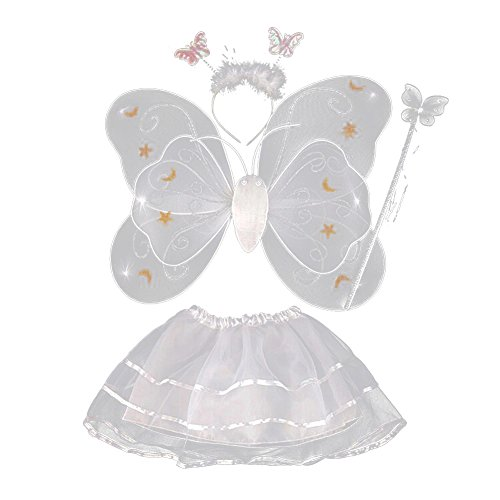 BOBORA Toddler Girls Fairy Butterfly Wing Wand Headband Tutu Skirt Halloween Party Costume Set - Toddler Ballerina Tinkerbell Costumes