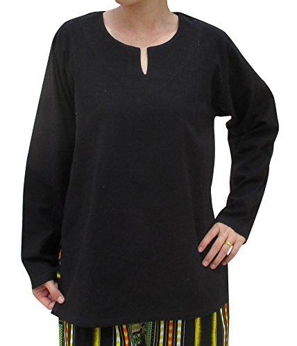 Raan Pah Muang RaanPahMuang Soft Summer Cotton Ladies Long Sleeve Shirt With Arrowhead Open Collar, Small, Black ()