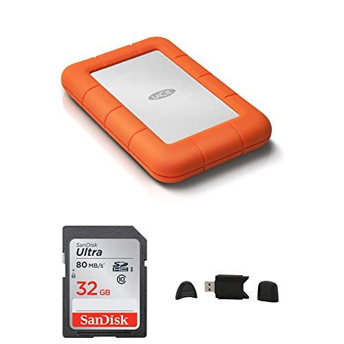 - LaCie Rugged USB 3.0 4TB Mini Hard Drive + SanDisk Ultra 32GB 80MB/s SD Card + MMC MultimediaCard & SD Secure Digital Reader USB Bundle