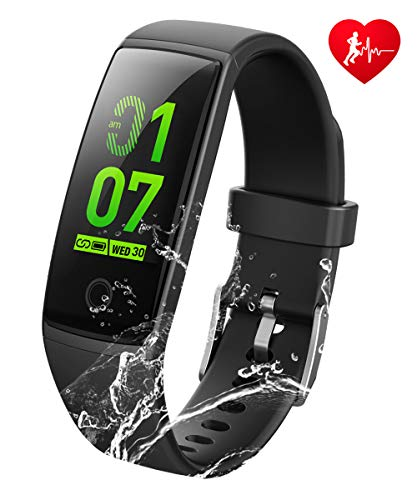 K-berho Fitness Tracker HR, New Version Colorful Screen Smart Bracelet with Heart Rate Monitor,Activity Tracker and Workout Tracker Calorie Counter Pedometer Watch for iOS & Android (Black)