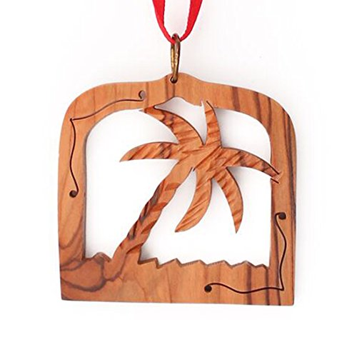 From The Earth - Olive Wood Palm Tree in Frame Christmas Ornament - Fair Trade & Handmade ()