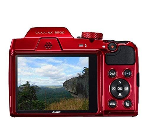 Nikon Coolpix B500 16MP Point and Shoot Camera with 40xOptical Zoom (Red) with HDMI cable + 16 GB SD card + Carry Case