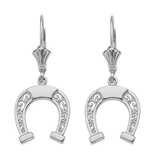 Sterling Silver Horseshoe Filigree-Style Leverback ()
