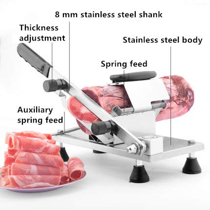 CGOLDENWALL Manual Frozen Meat Slicing Machine Small Stainless Steel Beef/Mutton Roll Slicer Meat shaving machine Hand-operated Meat Slicer Household Cutting Machine (202 stainless steel)