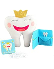 """Tooth Fairy Pillow With Notepad And Keepsake Pouch. 3 Piece Set Includes 9"""" x 8"""" Pillow With Pocket, Dear Tooth Fairy Notepad, Keepsake Wallet Photo Pouch."""