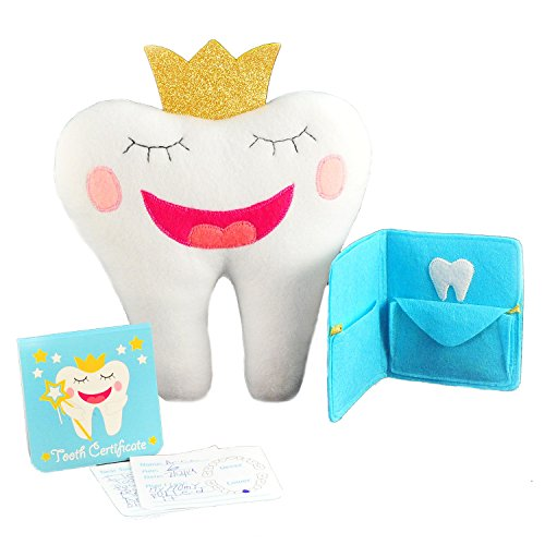Tooth Fairy Pillow Kit with Notepad and Keepsake Pouch. 3 Piece Set Includes Pillow with Pocket, Dear Tooth Fairy Notepad, Keepsake Wallet Pouch That Holds Teeth, Notes, and Photograph.