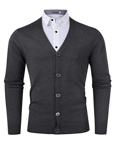 Kuulee Herren Strickjacke Cardigan Mit V-Ausschnitt Grobstrick Pullover 100% Baumwolle