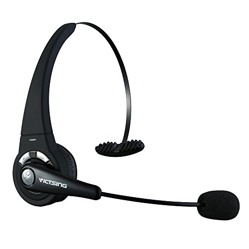 VicTsing Bluetooth Headset, Over The Head Wireless Headset, Build in Mic for Computers, Phones(Black)