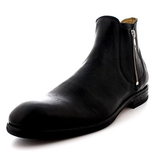 H by Hudson Men's Mitchell Leather Double Zip Chelsea Boots, Black, 40 EU (7.5 D(M) US Men) (Calfskin Zip Boot)
