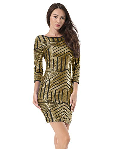 Neck Dress Women Bodycon Stretchy Sequin Backless Hiistandd Round Long Sleeve Gold Party Glitter HYwqP