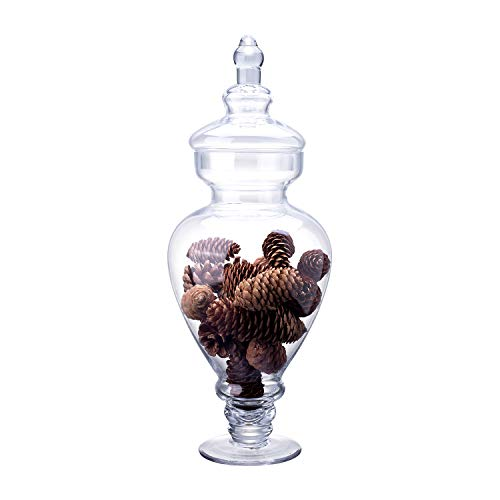 """Diamond Star Clear Glass Apothecary Jar Candy Buffet Containers Footed Vase with Lid, Elegant Decorative Wedding Storage Jars (Height: 15"""", Diameter: 6.5"""")"""