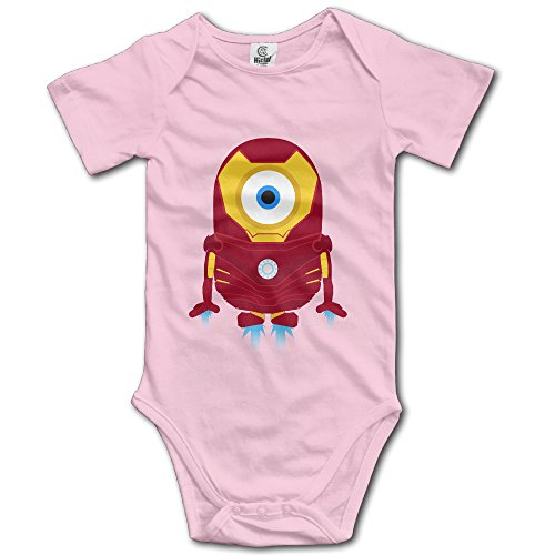 Kids Minions Iron Man Baby Bodysuit Rompers Unisex Boys Girls 100% Cotton 12 Months Pink (Kids Minion Suit)