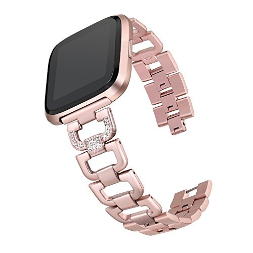 bayite Bling Bands Compatible Fitbit Versa Watch, Stainless Steel D-Link with Rhinestones, Rose Gold 5.5 - 8.1
