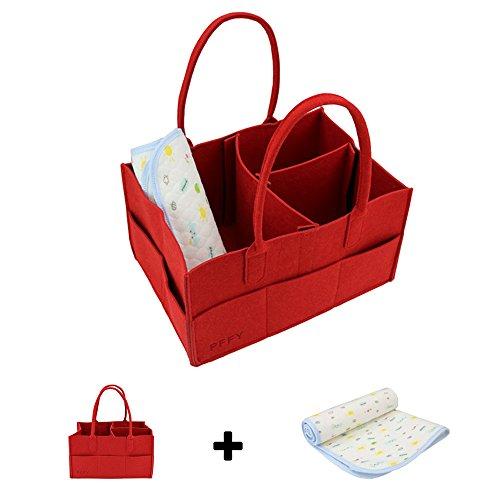 Diaper Caddy with Diaper Changing Pad - PFFY Diaper Organizer Baby Shower Basket Portable Nursery Storage Bin Car Toy Organizer Gift For Wife Tote Bag Red (Caddy Red)