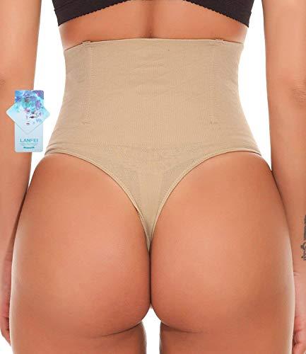 ec163ba212 LANFEI Women Waist Cincher Underwear Tummy Control Thong Shapewear Panties  Beige