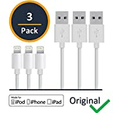 Apple OEM (Original Equipment Manufacturer) Lightning to USB Cable - 3 Feet White (3Pack). Compatible with iPhone7/6s/6/5s/5