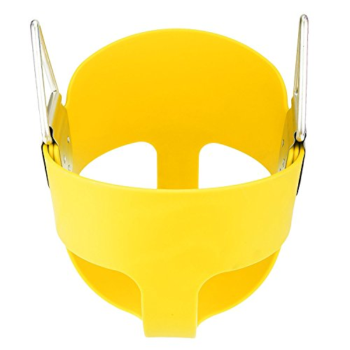 Yellow, full-bucket swing perfect for toddlers.