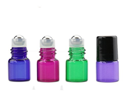 Furnido 10 pcs Colorful Mini refillable glass bottle Fragrances essential oil perfume roller ball with Stainless Steel Roller & Black Screw Cap on Beauty Makeup Tool Mixed Color 1ml/2ml/3ml (1ml)
