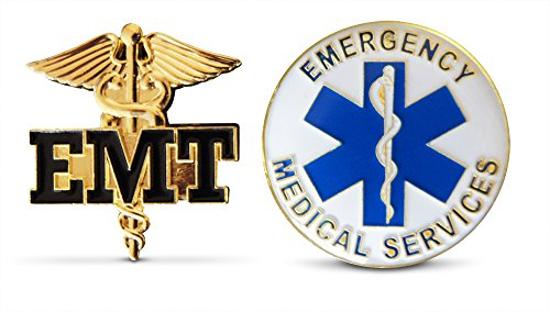 2-Piece Emergency Medical Technician & EMT Lapel or Hat Pin & Tie Tack Set with Clutch Back by Novel Merk