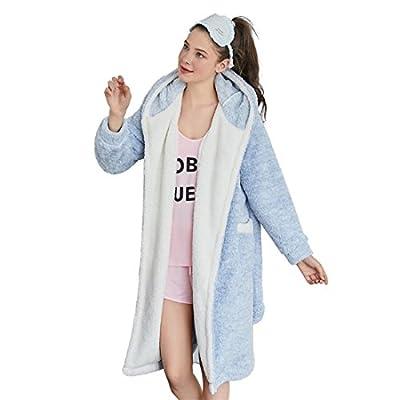 GWELL Women's Comfort Cotton Hooded Warm Flannel Cute Fox Bath Robe With Roomy Pockets Black Blue