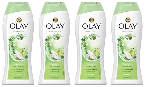 Olay Fresh Outlast Crisp Pear & Fuji Apple Body Wash 22 oz, (4 Count) (Natural Scents Crisp Apple)