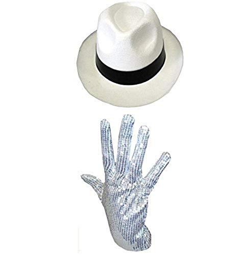 B&S Trendz Men's Michael Jackson Silver Sequin Glove Al Capone Hat 70 80S One Size White -