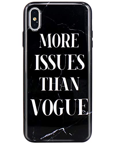JIAXIUFEN Compatible with iPhone Xs Max Case Black Marble Issue Vogue Design Slim Shockproof Flexible Bumper TPU Soft Case Rubber Silicone Cover Phone Case