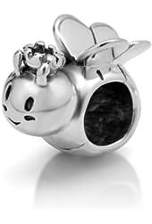 925 Sterling Silver Honey Bee Bead Charm Fits Pandora Bracelet