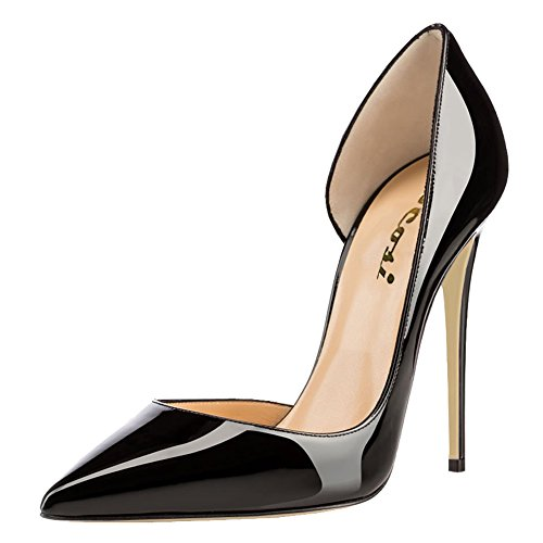 VOCOSI Women's Vosiz Stiletto Pointed Toe Side Air Dress Gradient Color Wedding Pumps Black 15 US