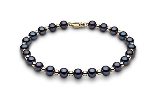 Kimura Pearls femme  9carats (375/1000)  Or jaune #Gold Rond Semi-circulaire Perle d'eau douce chinoise Noir Perle FINENECKLACEBRACELETANKLET