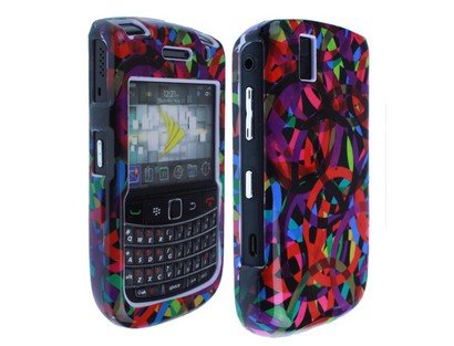 Rainbow Rings Dark Phone Protector Faceplate Cover For RIM BLACKBERRY 9630(Tour), 9650(Bold) ()