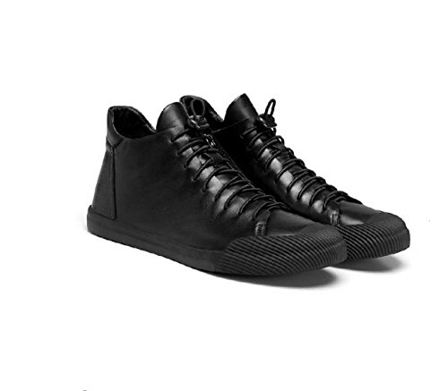 stivali di strato giovani 's Martin stivali inverno Black autunno stivali primo pelle e Men skateboard traspirante qEYxtnE