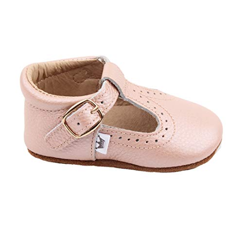 Liv & Leo Baby Girls Mary Jane T-bar T-Strap Oxford Soft Sole Crib Shoes Leather (12-18 Months, Blush)