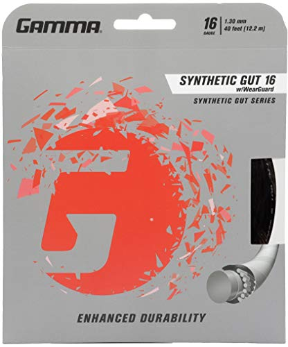 Gamma Sports 16g Synthetic Gut with Wearguard Tennis String Set, 40', Black ()