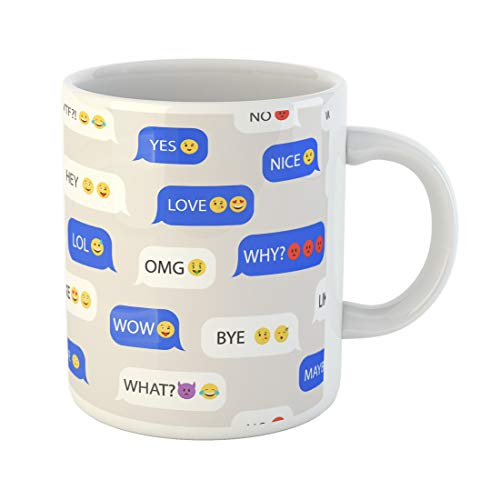 Semtomn Funny Coffee Mug Whats Emoticons Speech Bubbles