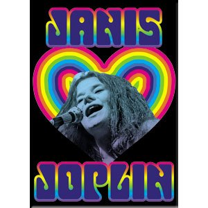 "JOPLIN JANIS Heart, Official Licensed Artwork - 2.5"" x 3.5"" High Quality Metal Magnet"