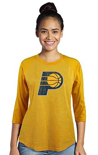 NBA Indiana Pacers Women's Premium Triblend 3/4 Sleeve Raglan, XX-Large, Gold
