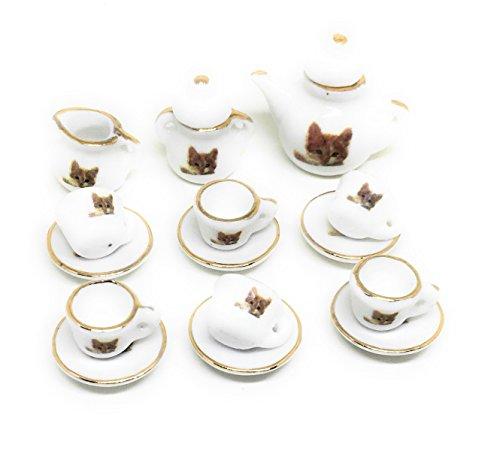 Dollhouse Miniature Food,Tiny Food Collectibles (Tea Pot Set (Cute Cat)) Ceramic Cat Mini Tea Set