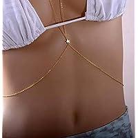 jindarat Ladies Bikini Beach Harness Belly Necklace Sexy Crossover Body Waist Chain Gold