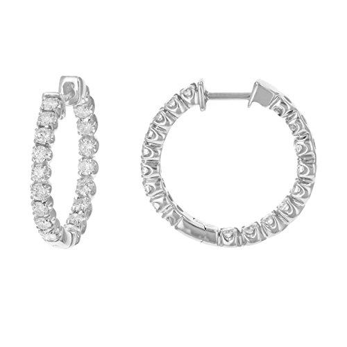 Vir Jewels 2 ctw Certified 14K White Gold Diamond Hoop Earrings Inside Out I1-I2