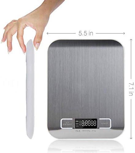 Bilancia da cucina Bilancia Da Cucina Digitale Multifunzione In Acciaio Inossidabile, Piattaforma Da 11 Kg In Acciaio Inossidabile Da 5 Kg Con Display Lcd