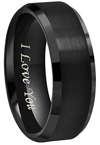 (CROWNAL 6mm 8mm 10mm Black Tungsten Wedding Band Ring Engraved I Love You Men Women Brushed Finish Beveled Edges (8mm,12))