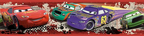 Roommates Rmk1516Bcs Disney Pixar Cars Piston Cup Racing Peel & Stick Border - Piston Wall