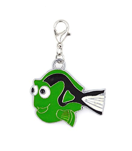 2-pc-set-stainless-steel-starter-charm-bracelet-and-clip-on-charm-green-dori-fish-75-95-adjustable-b