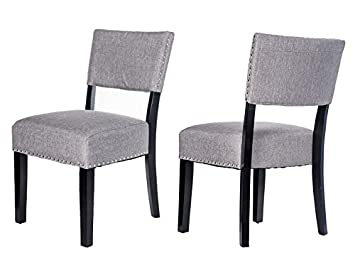 Merax Thick Padded Fabric Dining Chairs with Nailhead Detail, Set of 2 Grey