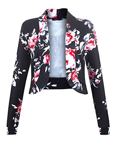 (Sufiya Womens Long Sleeve Short Cardigan Slim Fitted Cropped Open Front Bolero Shrug (M, Rose Print Black))