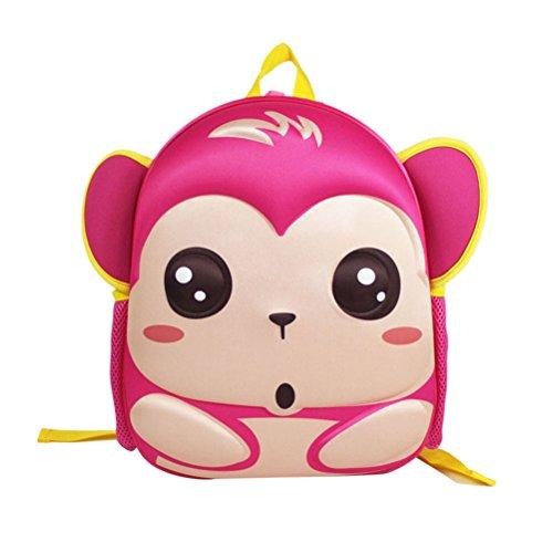 """Tinksky Kinder Rucksack Zoo Affe Tier Vorschule Schule Satchel Pre School Kleine Tasche für Jungen Mädchen 13 """"passt Kinder 4-8y (Rose Red)"""