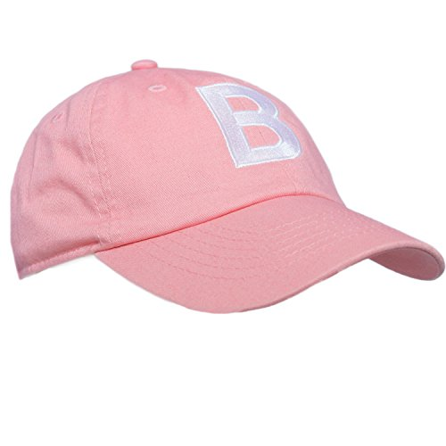 Embroidered Kids Parka - Tiny Expressions Toddler Girls' Pink Embroidered Initial Baseball Hat Monogrammed Cap (B, 2-6yrs)